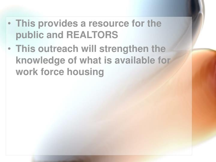 This provides a resource for the public and REALTORS