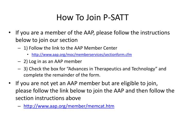 How To Join P-SATT
