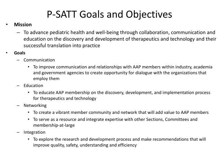 P satt goals and objectives