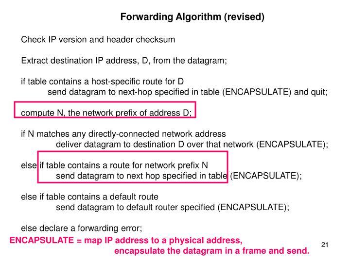 Forwarding Algorithm (revised)