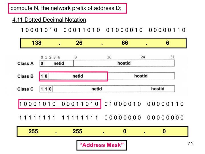 compute N, the network prefix of address D;