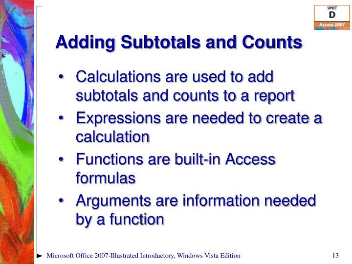 Adding Subtotals and Counts