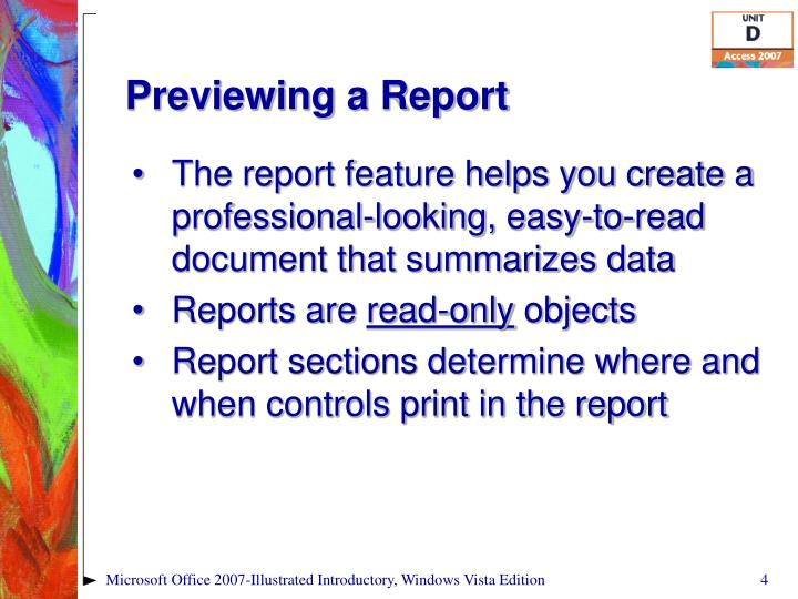 Previewing a Report