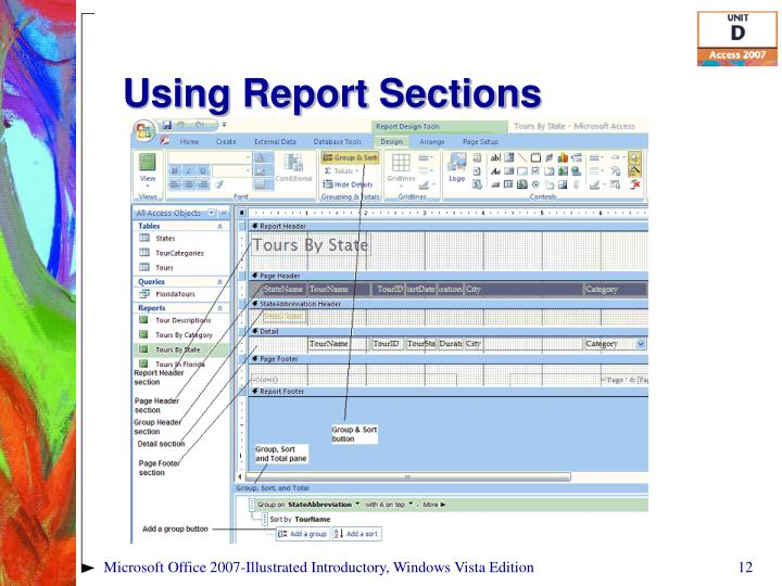 Using Report Sections