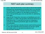 nist work plan summary