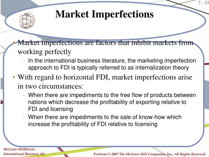 Market imperfections are factors that inhibit markets from working perfectly