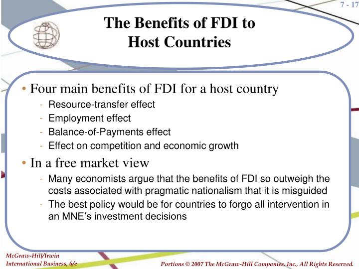 Four main benefits of FDI for a host country