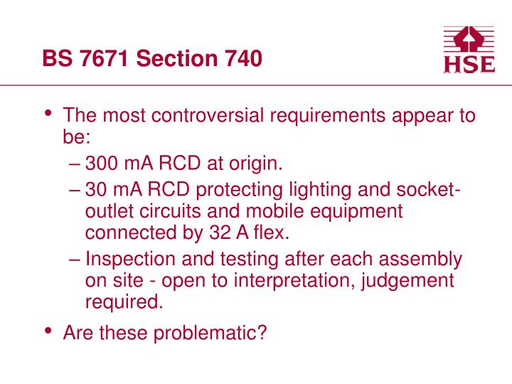 BS 7671 Section 740