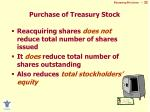 purchase of treasury stock