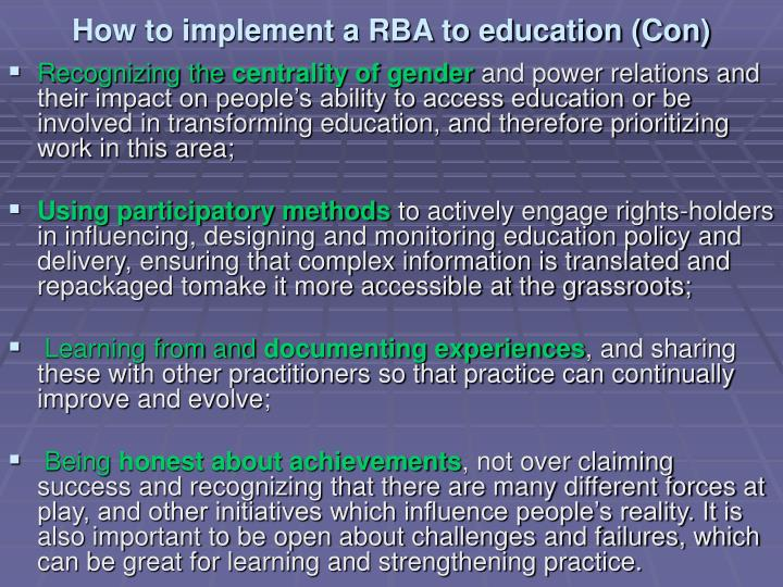 How to implement a RBA to education (Con)