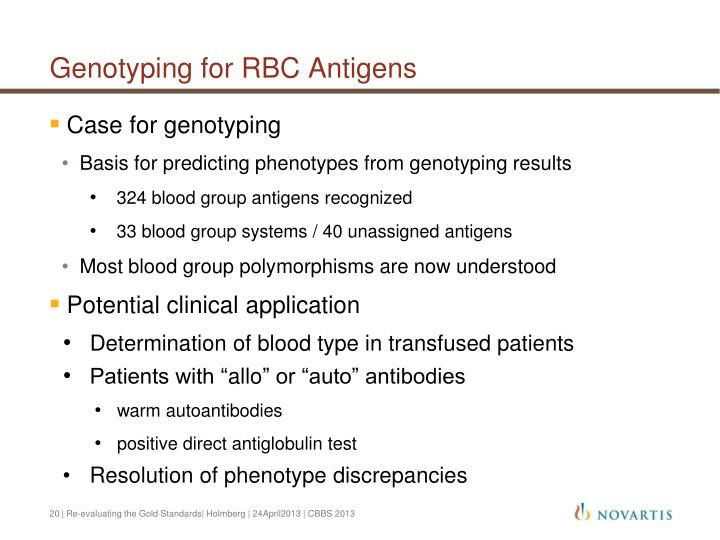 Genotyping for RBC Antigens