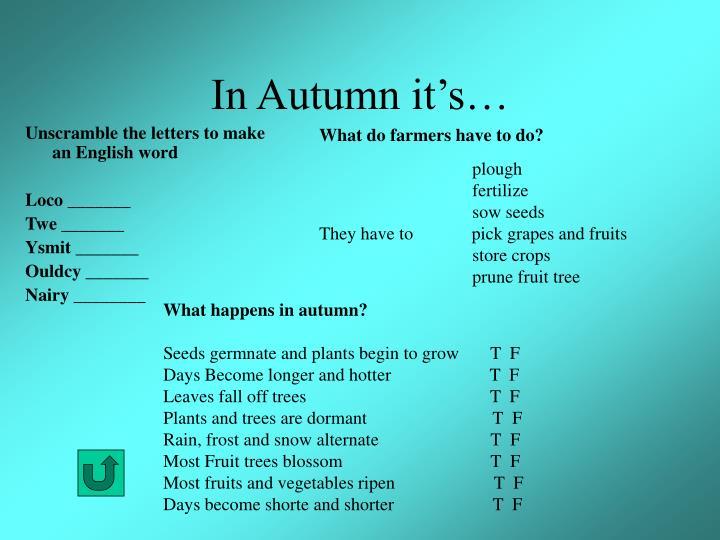 In Autumn it's…