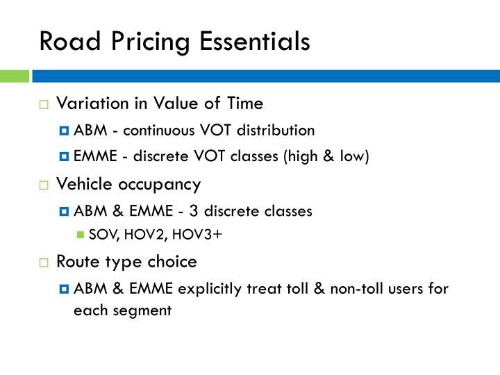 Road Pricing Essentials