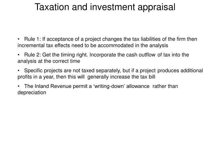 Taxation and investment appraisal