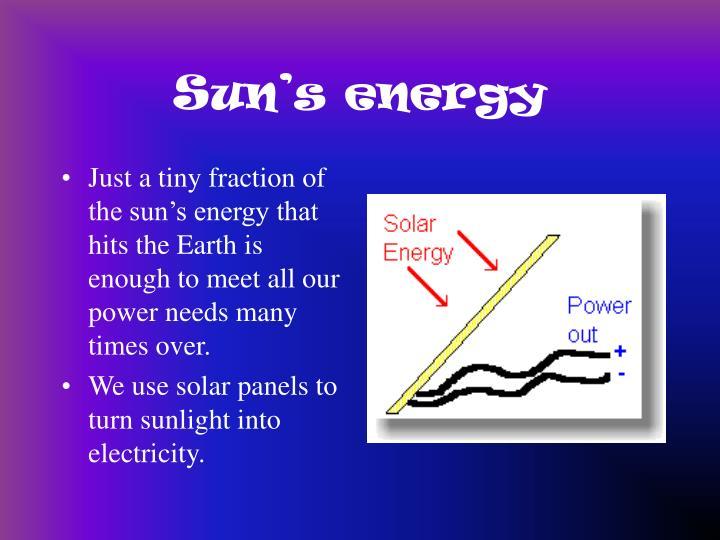 Sun s energy