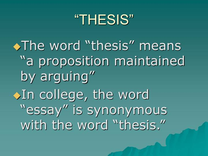 meaning of the word thesis statement