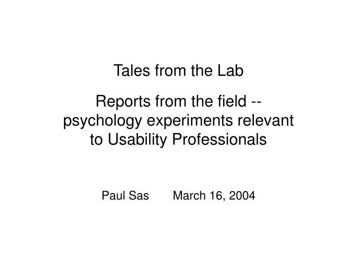 tales from the lab n.