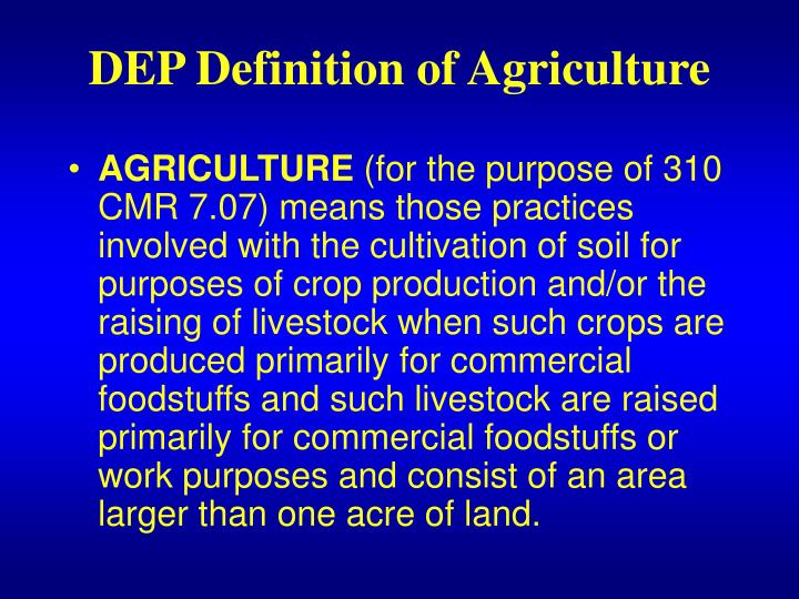 DEP Definition of Agriculture