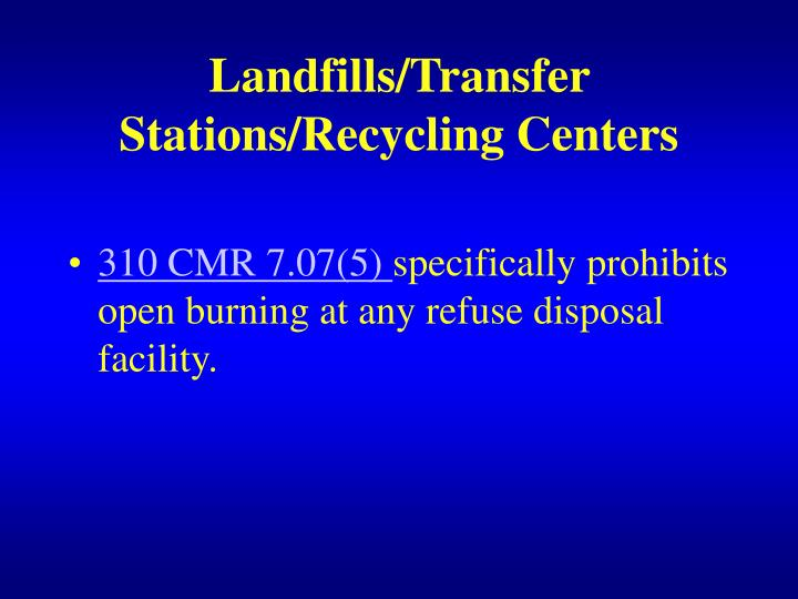Landfills/Transfer Stations/Recycling Centers