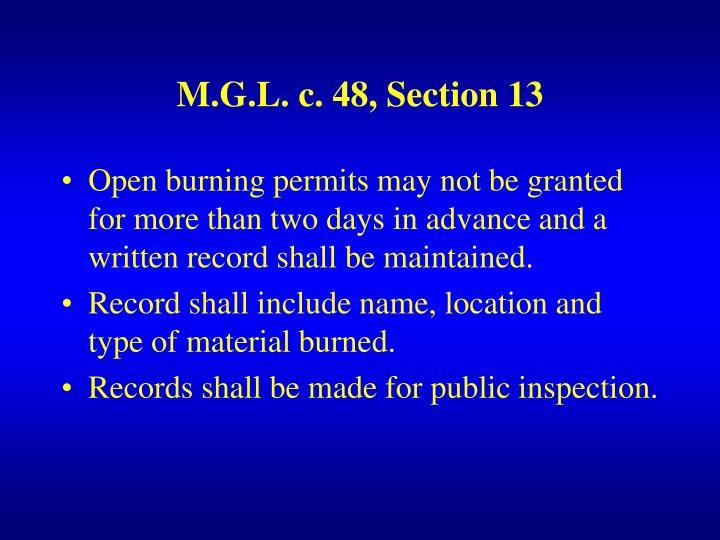 M.G.L. c. 48, Section 13