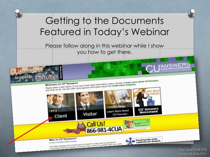 Getting to the Documents Featured in Today's Webinar