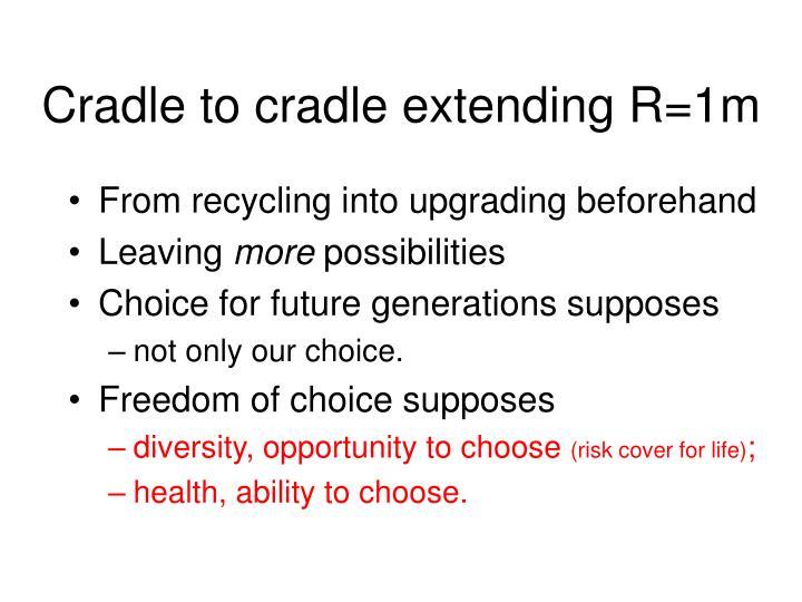 Cradle to cradle extending R=1m