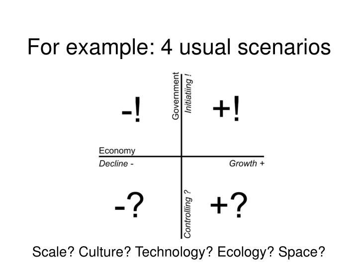 For example: 4 usual scenarios