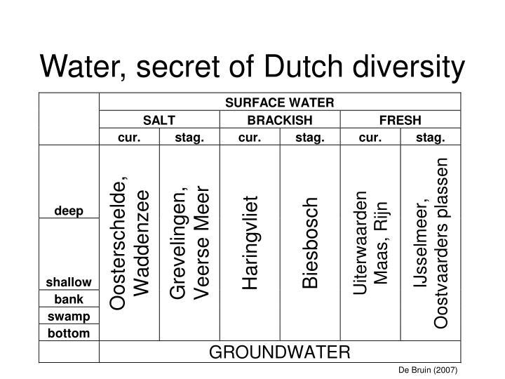 Water, secret of Dutch diversity