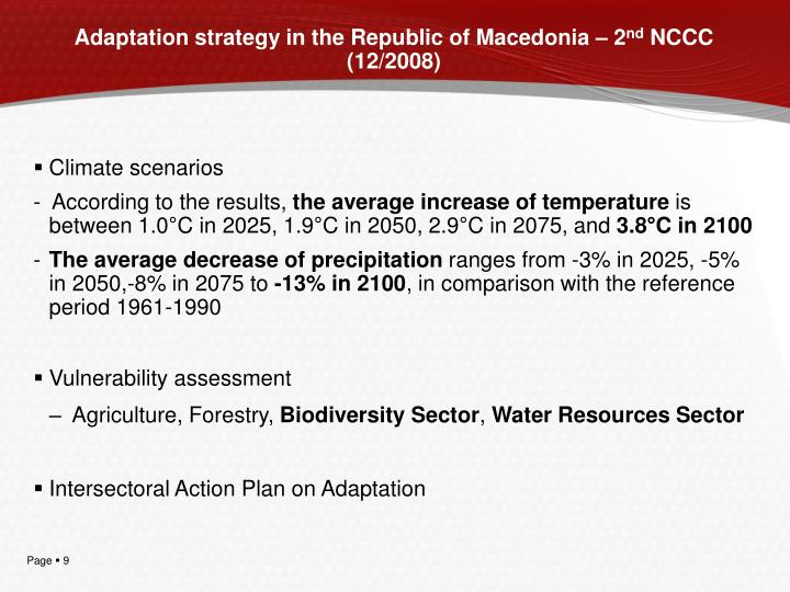 Adaptation strategy in the Republic of Macedonia – 2