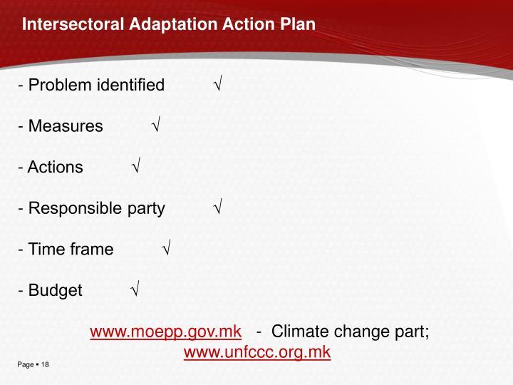 Intersectoral Adaptation Action Plan