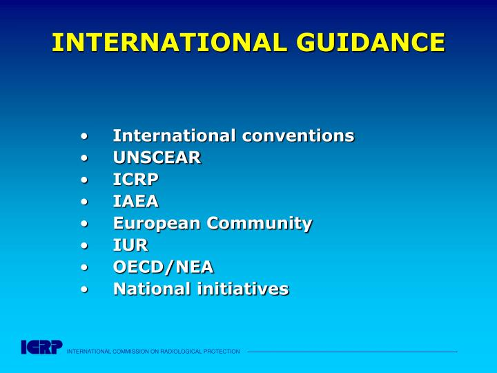 INTERNATIONAL GUIDANCE