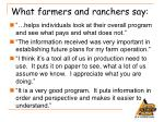 what farmers and ranchers say