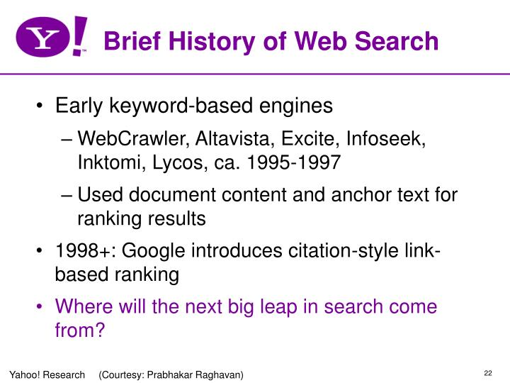 Brief History of Web Search