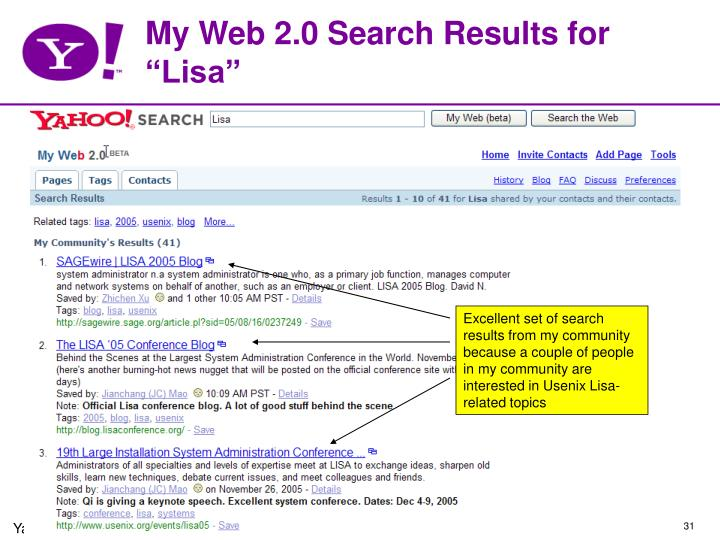 "My Web 2.0 Search Results for ""Lisa"""