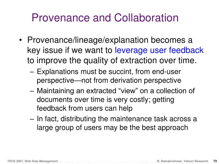 Provenance and Collaboration