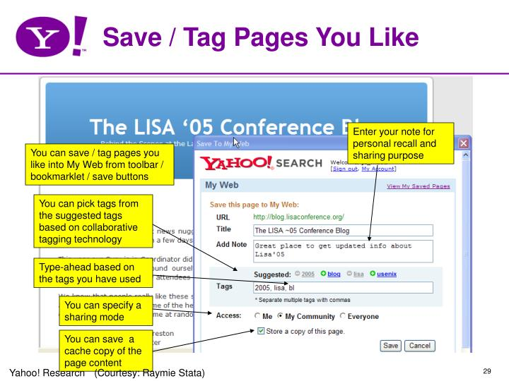 Save / Tag Pages You Like