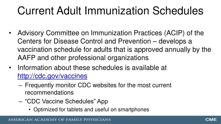 Current Adult Immunization Schedules