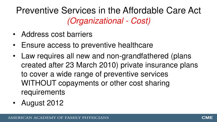 Preventive Services in the Affordable Care Act