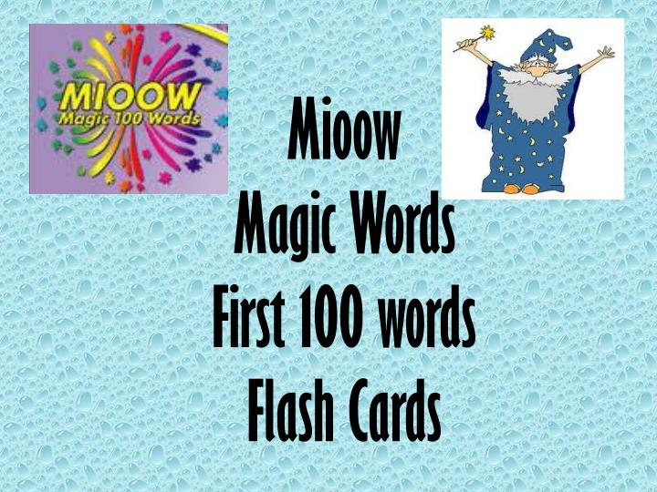 mioow magic words first 100 words flash cards n.