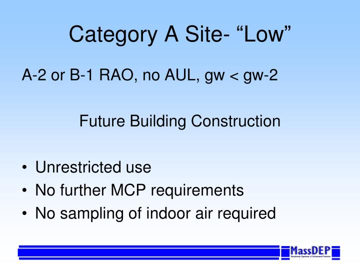 """Category A Site- """"Low"""""""