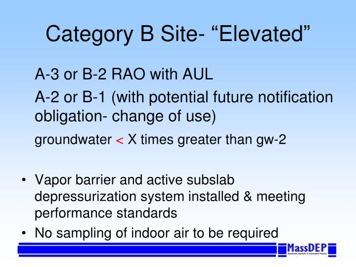 """Category B Site- """"Elevated"""""""