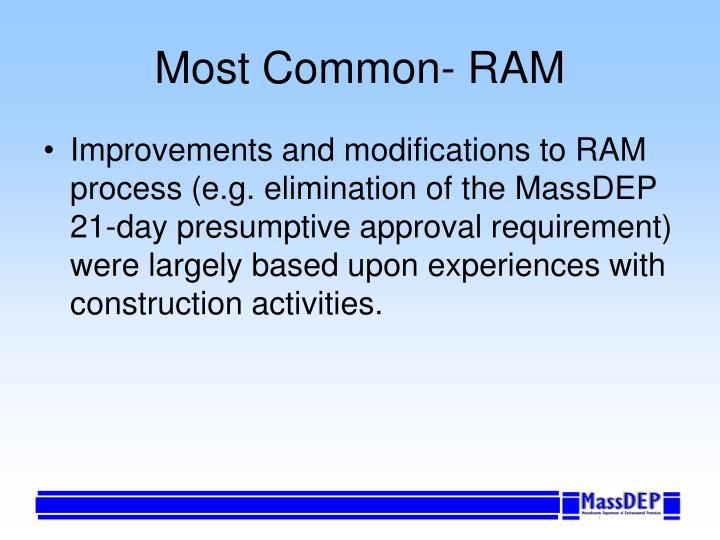Most Common- RAM