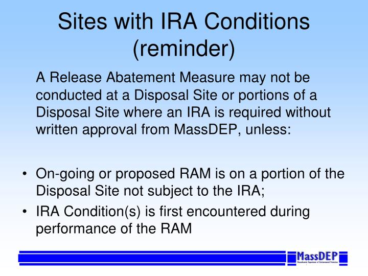 Sites with IRA Conditions (reminder)