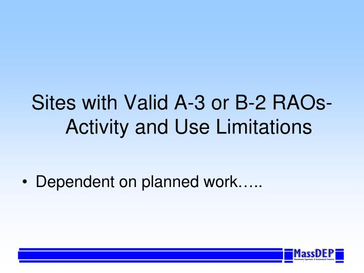 Sites with Valid A-3 or B-2 RAOs- Activity and Use Limitations