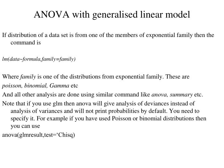 ANOVA with generalised linear model