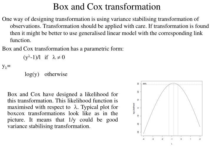 Box and Cox transformation