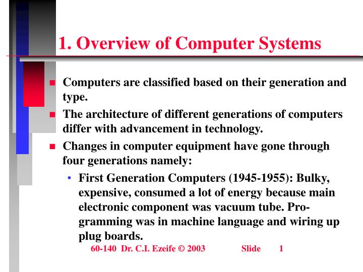 an overview of the architecture and features of computers