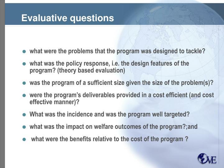 Evaluative questions