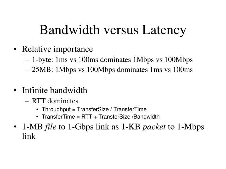Bandwidth versus Latency