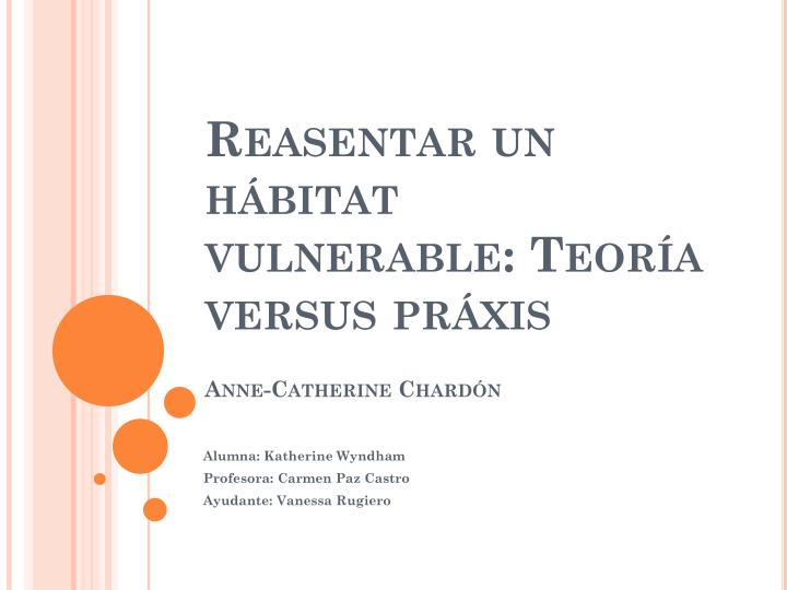 Reasentar un h bitat vulnerable teor a versus pr xis anne catherine chard n